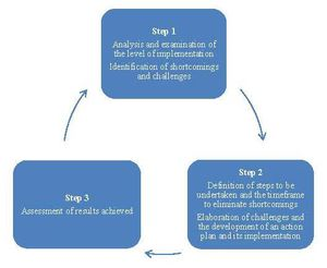 The figure shows the three steps of the cyclic mechanism: Step 1 includes the analysis and examination of the level of implementation and the identification of shortcomings and challenges. Step 2 leads, on the one hand, to the definition of steps to be un