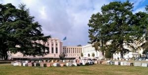 Vue of the Palais des Nations in Geneva for the 75th anniversary of the UN